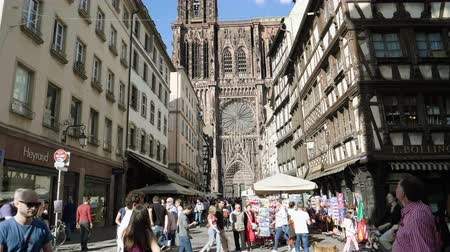 temple bell : Strasbourg, France - Circa 2019: Tilt up to Notre-Dame de Strasbourg cathedral on a warm sunny day with hundreds of tourists visiting Strasbourg Stock Footage