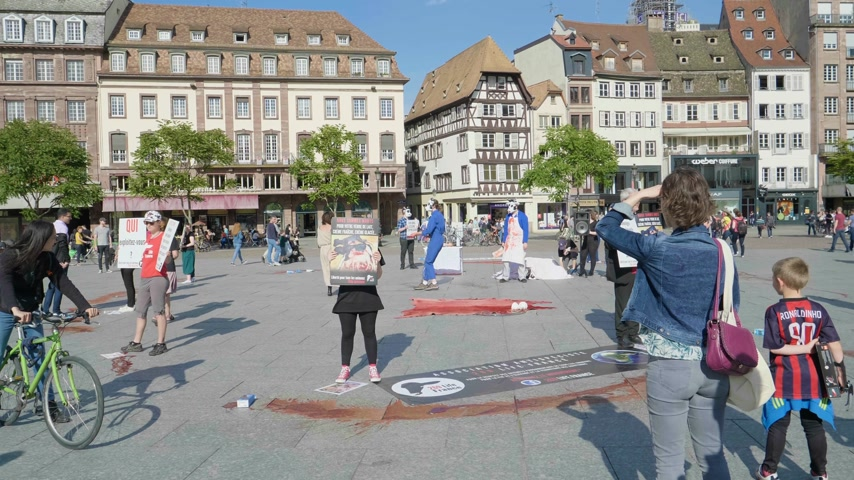 telecí maso : Strasbourg, France - Circa 2019: Vegan protesters from the animal rights organization demonstrate holds vigil for the welfare of cows with performance includes sound Dostupné videozáznamy