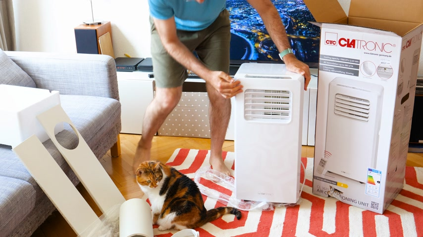 conditioner : Paris, France - Circa 2019: Young man being helped by his cat unboxing installing new portable air conditioner unit AC during hot summer in his living room inspecting the device Clatronic Stock Footage