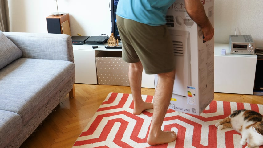 chladič : Paris, France - Circa 2019: Young man being helped by his cat unboxing installing new portable air conditioner unit AC during hot summer in his living room inspecting the box and opening