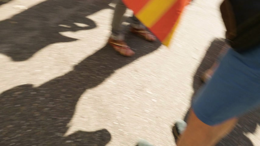választotta : Strasbourg, France - Jul 2 2019: Handheld erratic footage walking between Estelada Catalan separatist flag above people at demonstration protest near EU European Parliament against exclusion of three Catalan elected MEPs