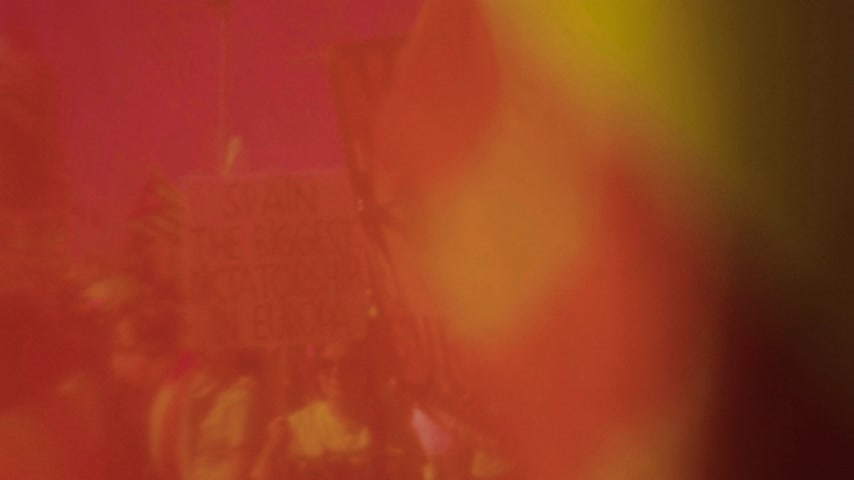 istek : Strasbourg, France - Jul 2 2019: Never surrender people with flags demonstrate protest front of EU European Parliament against exclusion of three Catalan elected MEPs Stok Video