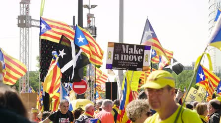 bizottság : Strasbourg, France - Jul 2 2019: Large group of people holding Estelada Catalan separatist flags demonstrate protest front of EU European Parliament against exclusion of three Catalan elected MEPs Stock mozgókép