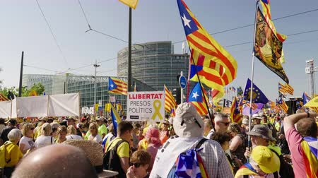protestor : Strasbourg, France - Jul 2 2019: Cinematic LLIBERTAT Presos Politics and Estelada Catalan separatist flags crowd at protest front of EU European Parliament against exclusion of three Catalan elected MEPs