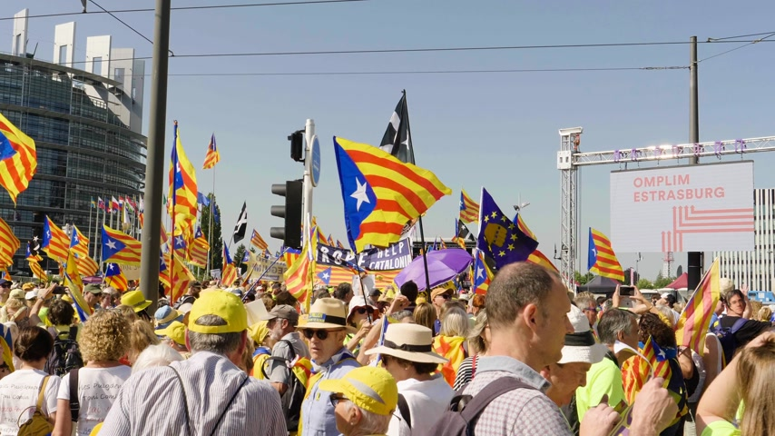 katalán : Strasbourg, France - Jul 2 2019: Large group of people holding Estelada Catalan separatist flags demonstrate protest front of EU European Parliament against exclusion of three Catalan elected MEPs Stock mozgókép