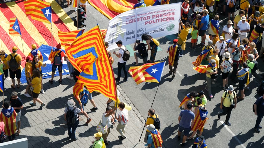 all european flags : Strasbourg, France - Jul 2 2019: Aerial view of people holding Estelada Catalan separatist flags demonstrate protest front of EU European Parliament against exclusion of three Catalan elected MEPs Stock Footage