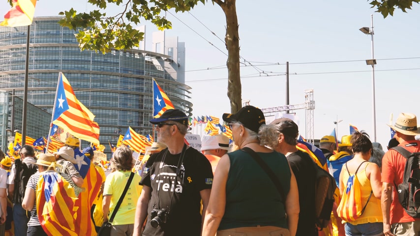 katalán : Strasbourg, France - Jul 2 2019: Group of people holding Estelada Catalan separatist flags demonstrate protest front of EU European Parliament against exclusion of three Catalan elected MEPs