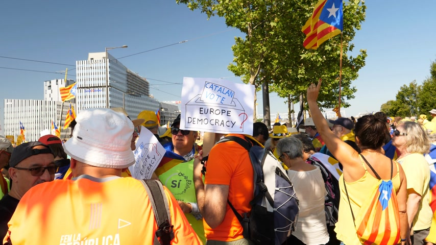 espana : Strasbourg, France - Jul 2 2019: Catalan Vote Europe is Democracy protest front of EU European Parliament against exclusion of three Catalan elected MEPs