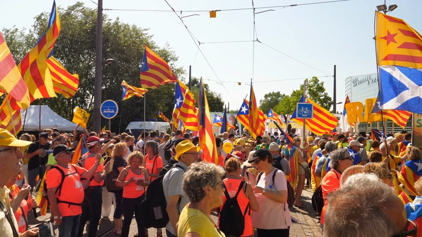 katalán : Strasbourg, France - Jul 2 2019: Seniors people holding Estelada Catalan separatist flags demonstrate protest front of EU European Parliament against exclusion of three Catalan elected MEPs Stock mozgókép