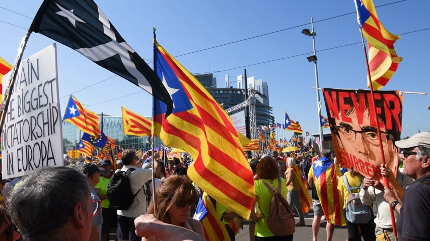 bizottság : Strasbourg, France - Jul 2 2019: Never surrender people with flags demonstrate protest front of EU European Parliament against exclusion of three Catalan elected MEPs Stock mozgókép
