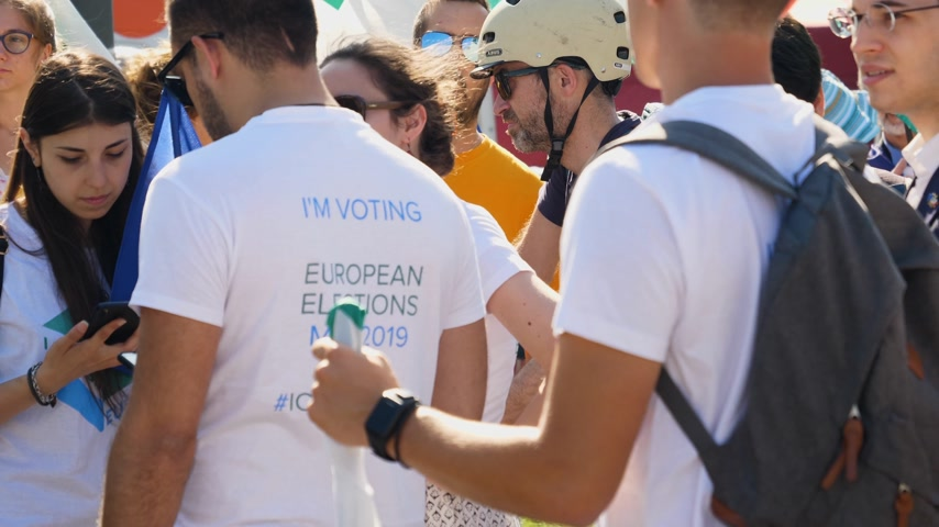 protestor : Strasbourg, France - Jul 2 2019: People wearing Im voting at European Elections in may 2019 at protest in front of European Parliament
