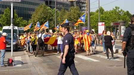 protestor : Strasbourg, France - Jul 2 2019: Police guiding People holding Estelada Catalan separatist flags demonstrate protest front of EU European Parliament against exclusion of three Catalan elected MEPs