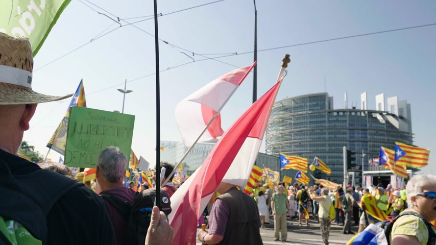 istek : Strasbourg, France - Jul 2 2019: Large crowd of Spanish people with flags and placards at protest front of EU European Parliament against exclusion of three Catalan elected MEPs
