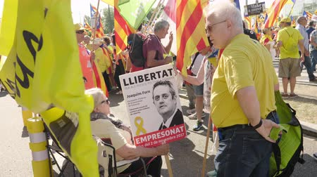 european parliament election : Strasbourg, France - Jul 2 2019: Man holding placard Freedom for Joaquim Form at protest front of EU European Parliament against exclusion of three Catalan elected MEPs