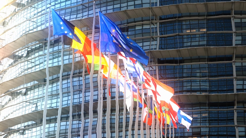 all european flags : Abstract dreamy view through water effect of European Union Flags waving calmly in front of European Parliament building in Strasbourg includes United Kingdom flags