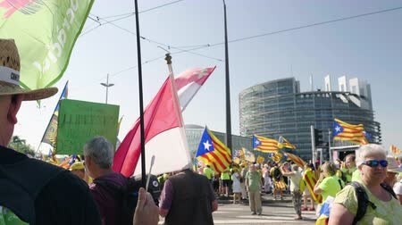 protestor : Strasbourg, France - Jul 2 2019: Large crowd of Spanish people with flags and placards at protest front of EU European Parliament against exclusion of three Catalan elected MEPs
