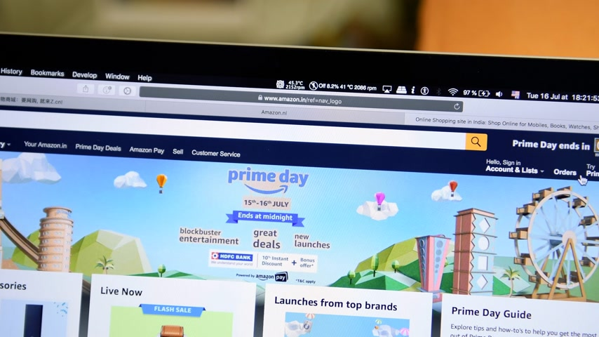 intel : PARIS, FRANCE - JUL 16 2019: Countdown timer of Amazon India Prime Day shopping on deals special discounts and online consumerism shopping Stock Footage