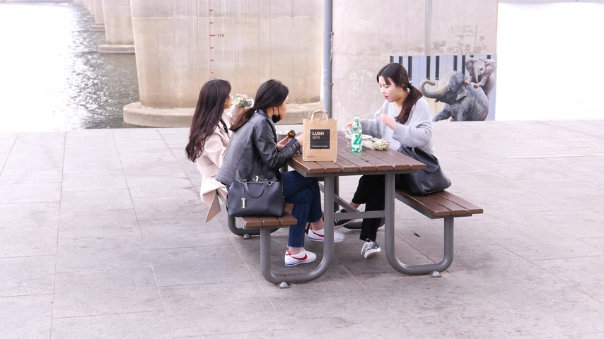 han river : Young korean students girls eating noodles outside, Seoul, South Korea