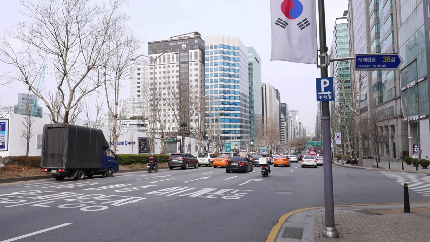 teheran : Road traffic at Gangnam district, Seoul, South Korea Stock Footage