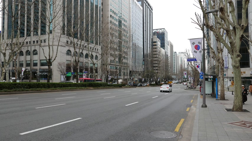 teheran : Wide road at Gangnam district, office buildings on famous business street