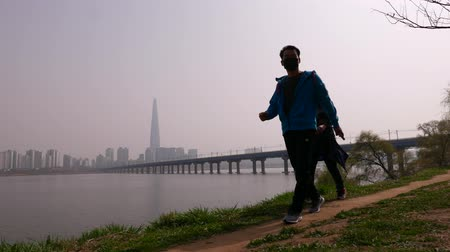 han river : Korean family walk in park, enjoy Han river and Lotte World Tower panorama