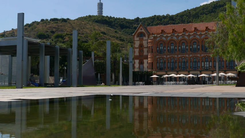 veranda : Panorama on historic building CosmoCaixa science museum, Barcelona