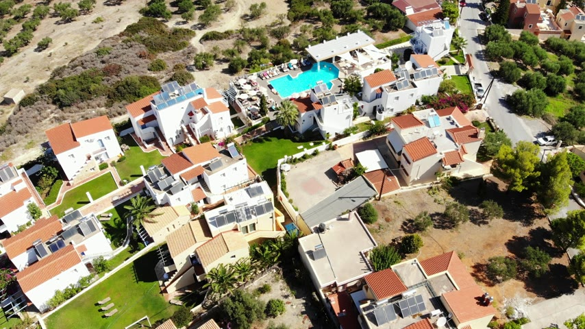 crete : Aerial panorama on small resort village, hotel, swimming pool, Crete