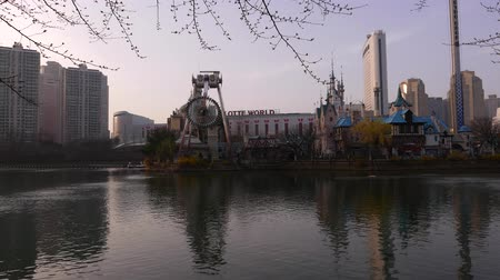 pendel : Avondpanorama op Lotte World Adventure-park, slingerende carrousel