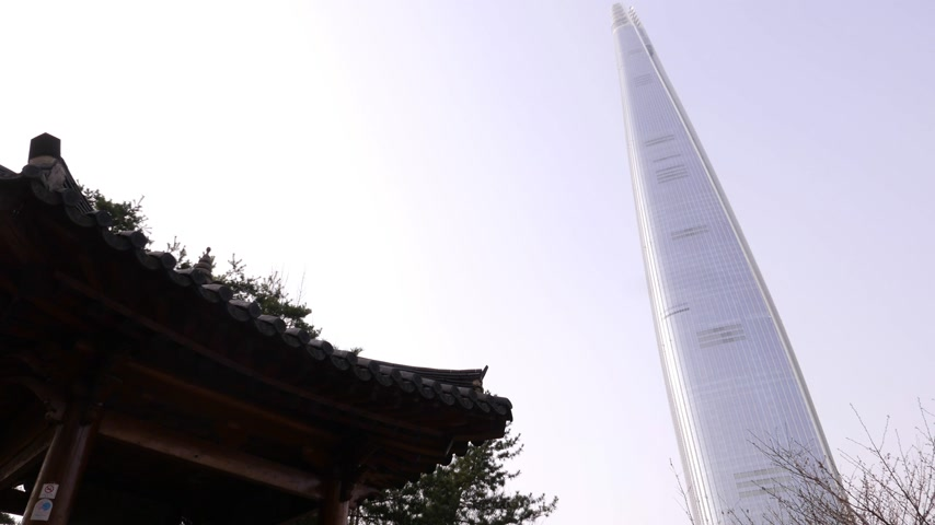 kombinasyon : Lotte world tower, modern and old Korean architecture