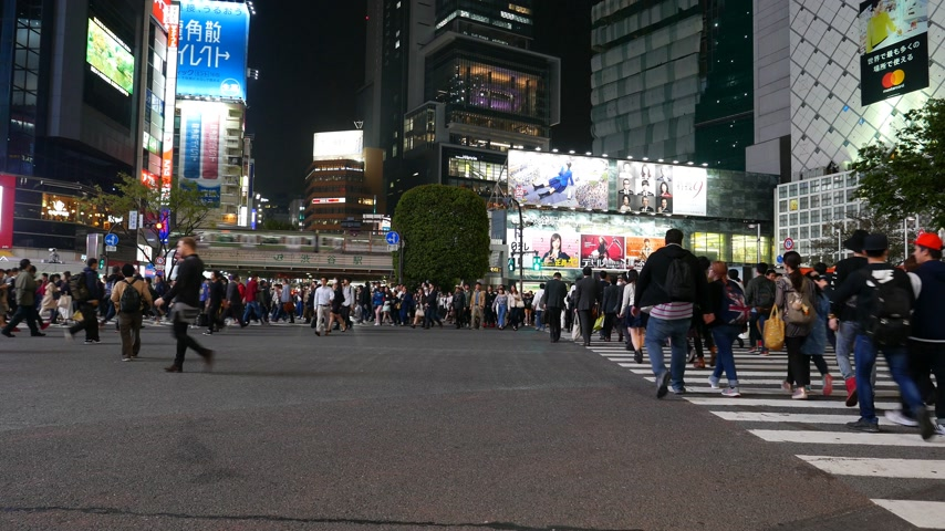 People start crossing Shibuya intersection, panorama on road and train, Tokyo Japan