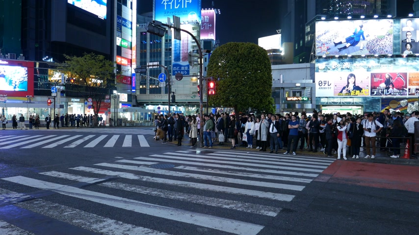 Many people standing at Shibuya, empty road, Tokyo, Japan