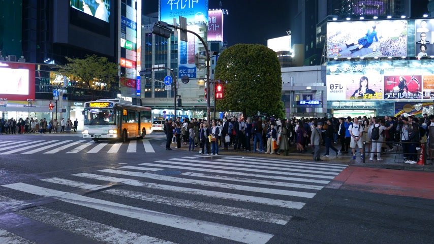 Bus, taxi, cars driving on Shibuya road conjunction, Japan public transport Stok Video
