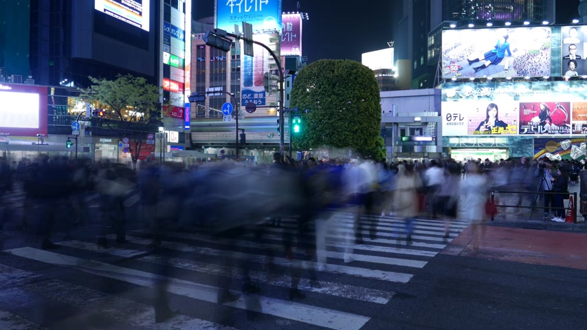 crossway : Time Lapce Shibuya crossing at night, Tokyo, Japan