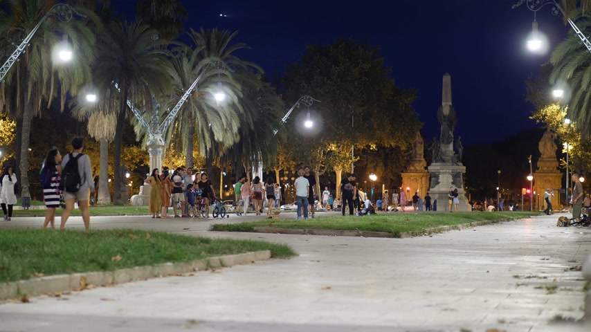 People walk and have fun in Barcelona on Passeig de Lluís Companys