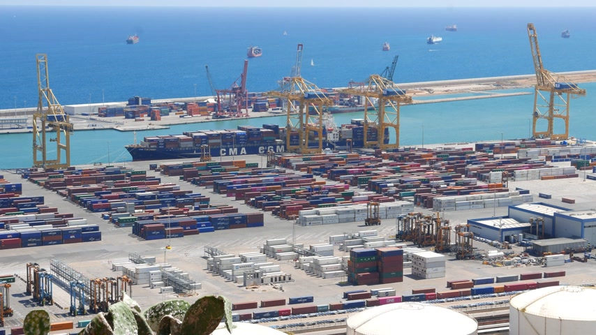 forklift : Barcelona maritime container port panorama in sunny day