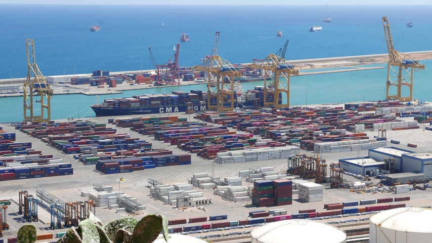 Barcelona maritime container port panorama, time-lapse