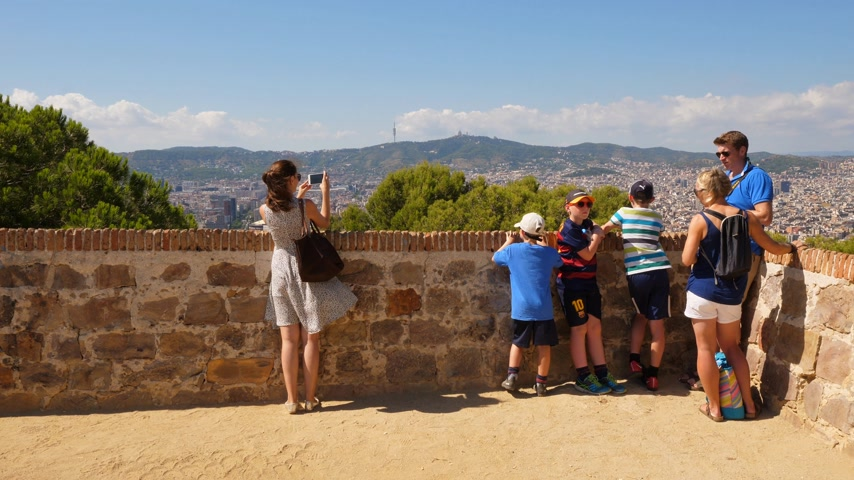 impressive skyline : Tourists on Montjuic viewing point