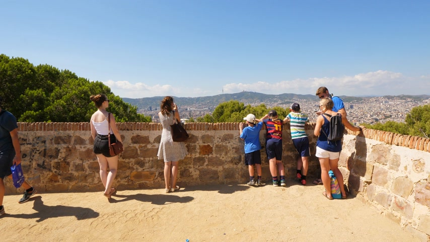 Tourists on Montjuic viewing point, Barcelona, Spain