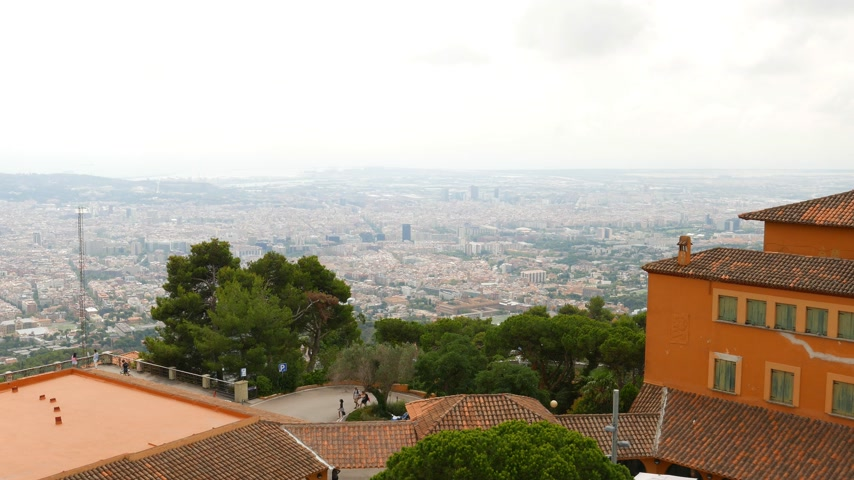 Cloudy Barcelona panorama from Tibedabo mountain Stok Video