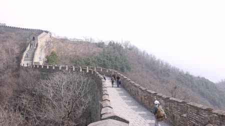 European tourists walk on Great Wall of China