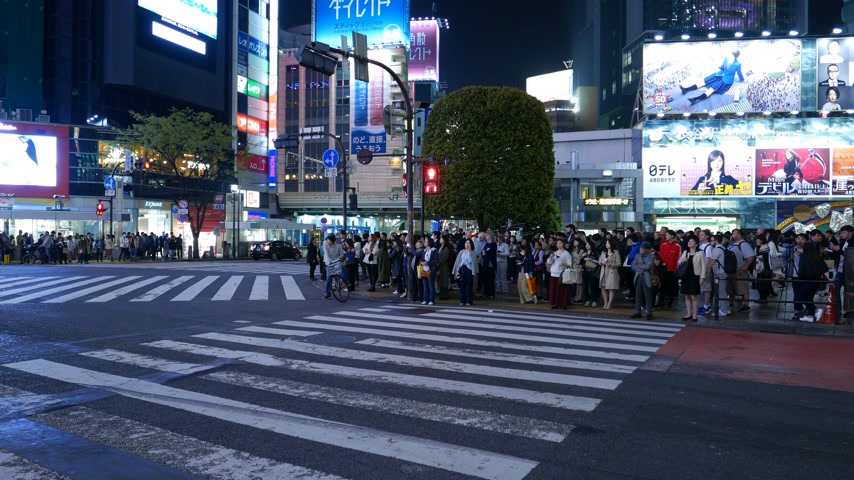 Lot of people waiting on Shibuya crossing at night