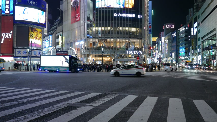 Street traffic on famous Shibuya diagonal crossing, Tokyo, Japan