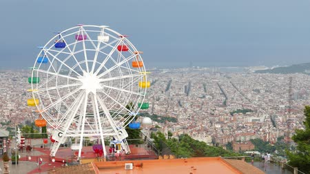 Ferris Wheel on Tibidabo mountain over Barcelona City