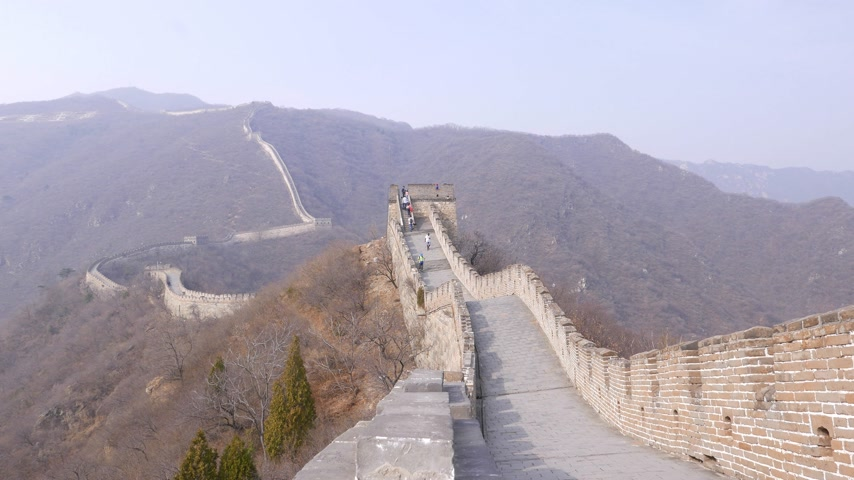 Tourists climb on watchtower on Great Wall of China
