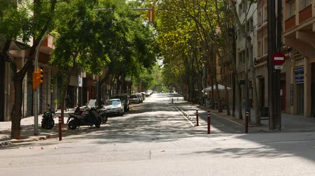 Empty Barcelona street in hot summer day