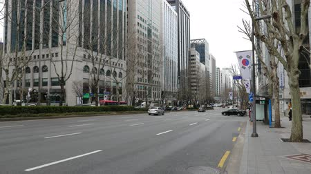 Beautiful panorama on Gangnam district high-rise buildings and multi-lane road