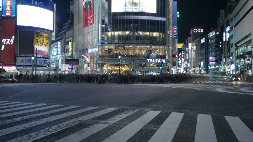 Timelapse couple standing together at Shibuya crossing, Tokyo, Japan