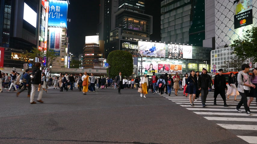 People walking on Shibuya diagonal crossing at night, Tokyo, Japan Stock Footage