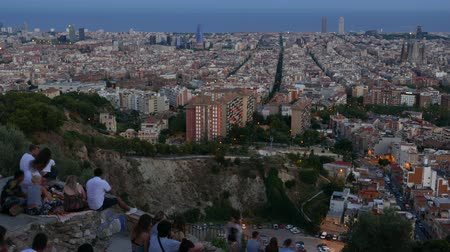 Time Lapse people enjoy Barcelona aerial panorama from Bunker Del Carmel Stock Footage