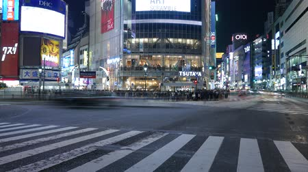 Timelapse couple standing at Shibuya crossing and road traffic, Tokyo, Japan Стоковые видеозаписи